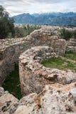 古希腊废墟在考古学地方在斯巴达, Gree 免版税库存照片
