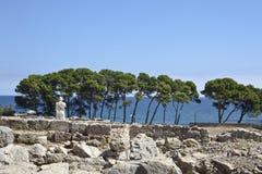 古希腊废墟在Empuries 库存图片