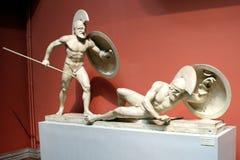 古希腊战士雕象  免版税库存照片