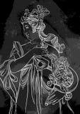 古希腊的女神 在黑板的手拉的美丽的传染媒介艺术品 葡萄酒白垩 神话和传奇 免版税库存图片