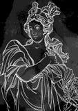 古希腊的女神 在黑板的手拉的美丽的传染媒介艺术品 葡萄酒白垩 神话和传奇 库存图片