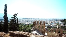 古希腊的被保存的废墟在雅典 股票录像