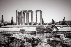 古希腊破坏俯视奥林山宙斯, Ath寺庙  免版税库存图片