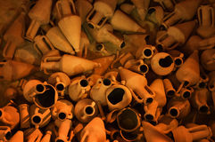 古希腊amphorae。塞浦路斯 免版税图库摄影