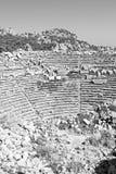 古庙和剧院termessos安塔利亚火鸡亚洲天空的 免版税库存图片