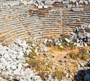 古庙和剧院termessos安塔利亚火鸡亚洲天空的 库存图片