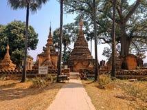 古庙在阿瓦村庄 库存图片