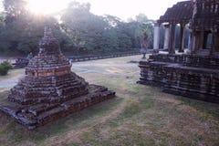 古庙复合体的墙壁的片段在印度支那 古老高棉的建筑学 库存图片