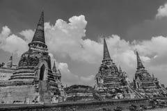 古庙废墟在Ayuthaya,泰国 库存图片