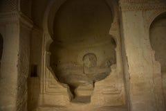 古庙的内部 在砂岩山做的古庙 格雷梅,卡帕多细亚,安纳托利亚,土耳其 库存照片
