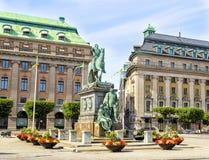 古斯塔夫Adolfs Torg在斯德哥尔摩,瑞典 库存图片