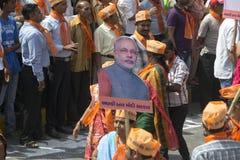 古杰雷特首席部长和BJP头等部长级候选人Narendra Modi 库存图片