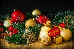 古板的圣诞节装饰 库存图片