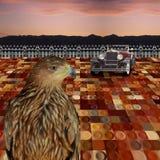 古板的老鹰在未来镇 免版税库存图片