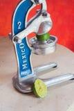 古板的金属榨汁器 免版税图库摄影