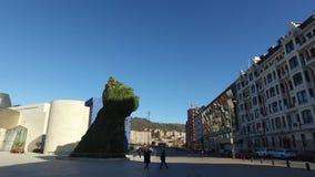 古根海姆美术馆的外在看法在毕尔巴鄂 01/25/2017 西班牙 影视素材