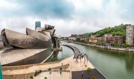古根海姆美术馆看法在毕尔巴鄂,西班牙,欧洲。 免版税图库摄影