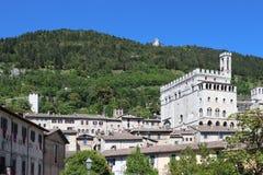 古比奥在有Palazzo dei的Consoli翁布里亚 免版税图库摄影