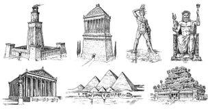 古老世界的七奇迹 吉萨棉金字塔,巴比伦,在以弗所,宙斯的亚底米神庙斜坡上的花园在 向量例证