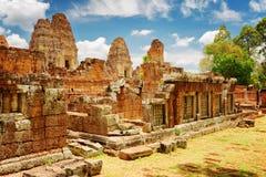 古老东部Mebon寺庙,吴哥,柬埔寨神奇废墟  图库摄影