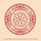 古老中国人Pattern_043圆的螺旋曲线花框架 向量例证