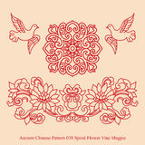 古老中国人Pattern_038螺旋花藤鹊 向量例证