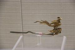 古老中国夫人使用的在簪子的考古学发现上 免版税库存图片