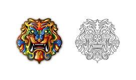 古老中国屏蔽样式老虎 免版税库存照片