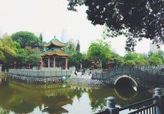 古老中国庭院建筑学,绿色 免版税库存图片