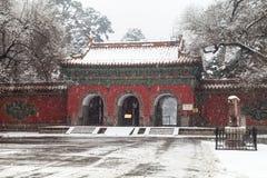 古老中国建筑学在冬天 库存图片