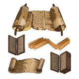 古老书 纸莎草,一本木书 写古代人 免版税库存图片