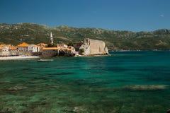 古老亚得里亚海的墙壁老镇布德瓦,地中海 免版税库存图片