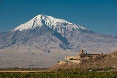 古老亚美尼亚教会Khor Virap 免版税图库摄影