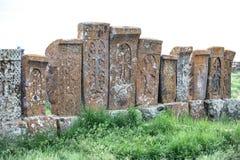 古老亚美尼亚khachkar石十字架 免版税库存图片