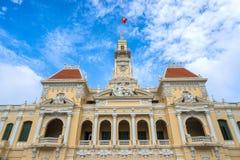 古老人民的委员会大厦在Sai Gon中 库存照片