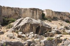 古老人的阵营在Gobustan,从巴库,阿塞拜疆的70 km 图库摄影
