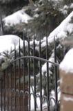 古老伪造的篱芭由金属和石头制成在冬天 库存照片