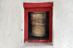 古老佛教地藏车,白色墙壁修道院,拉达克,一点西藏 库存图片