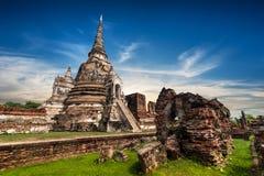 古老佛教塔废墟 ayutthaya泰国 库存图片