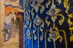 古老佛教墙壁上的寺庙 库存照片