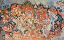 古老佛教寺庙壁画 免版税库存照片