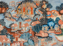 古老佛教寺庙壁画 库存图片