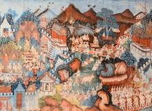 古老佛教寺庙壁画 免版税库存图片