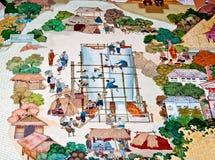 古老佛教徒修道院绘画t墙壁 免版税库存图片