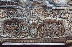 古老佛教高棉艺术在吴哥窟 库存图片