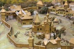 古老俄国城市的模型 免版税图库摄影