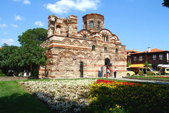 古老保加利亚基督基督教会pantocrator墙壁 库存照片