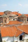 马其顿, Pelagonia地区,古老Treskavec修道院,屋顶 免版税库存照片