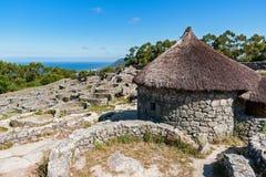 古老凯尔特村庄废墟在圣特克拉-加利西亚,西班牙 免版税库存照片