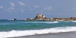 古老凯瑟里雅以色列端口废墟 免版税图库摄影
